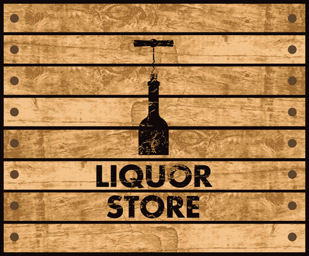 liquors: wooden box with a picture of the bottle of wine and liquor store sign Illustration