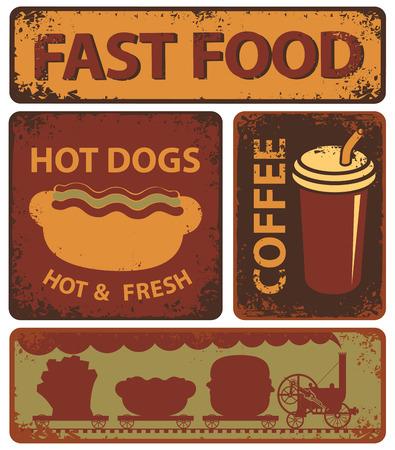 banners set sur la restauration rapide dans le style rétro