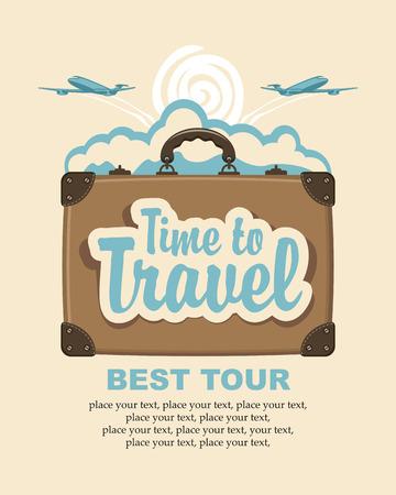 maleta: maleta de viaje con el tiempo palabras de viajar y aviones de pasajeros