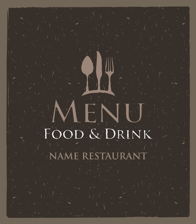 food drink: Vector Cover menu with a picture cutlery