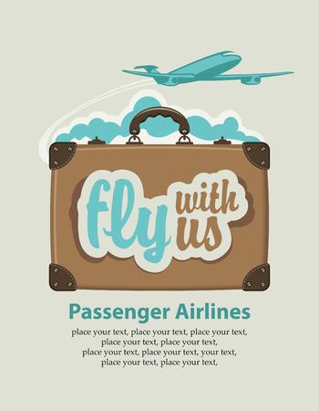 Reise-Koffer mit den Worten: Fliegen Sie mit uns und Passagierflugzeug