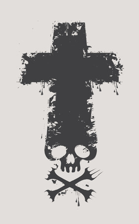 crossbones: Christian cross with a skull and crossbones with the spray droplets Illustration