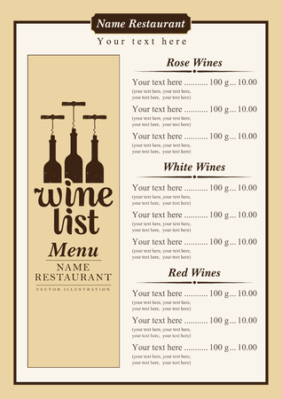 price list: wine menu with a price list of different wines Illustration