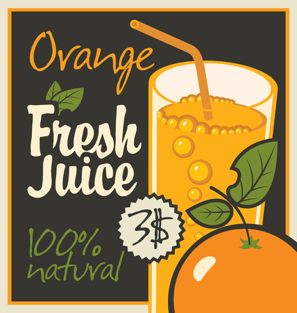 savory: Vector banner with orange and a glass of juice