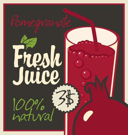 fruit juice: Vector banner with pomegranate and a glass of juice