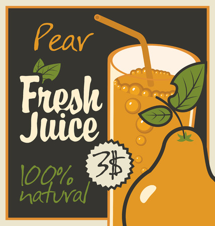 savory: Vector banner with pear and a glass of juice
