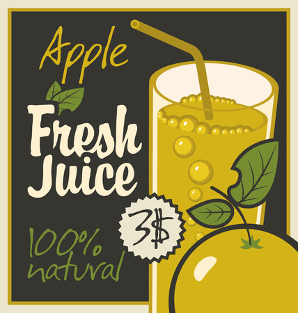 savory: Vector banner with apple and a glass of juice