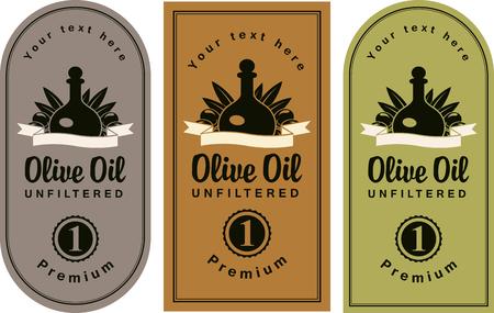 olive oil bottle: set of labels for olive oils