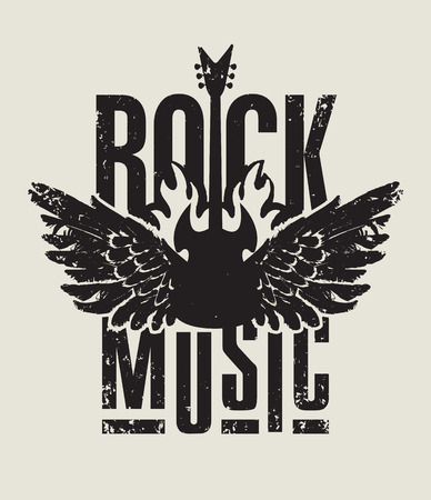 hard rock: banner for rock music with electric guitar with wings on fire