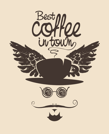 coffee and tea: head of a man with a mustache wearing a hat in the form of a cup of coffee with wings