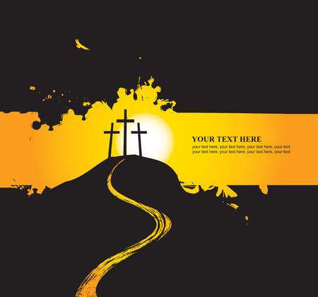 3 つの十字架とキリスト教の主題のベクトル図  イラスト・ベクター素材