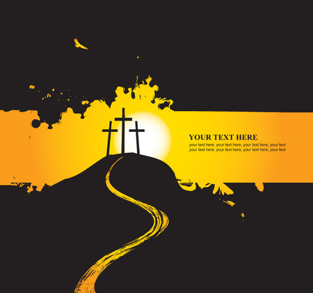 redemption: vector illustration on Christian themes with three crosses