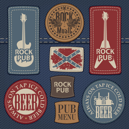 eather: set of leather labels on denim on the theme pub with live music