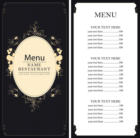 range fruit: menu with price list with floral ornaments