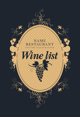black grape: wine list with a bunch of grapes Illustration