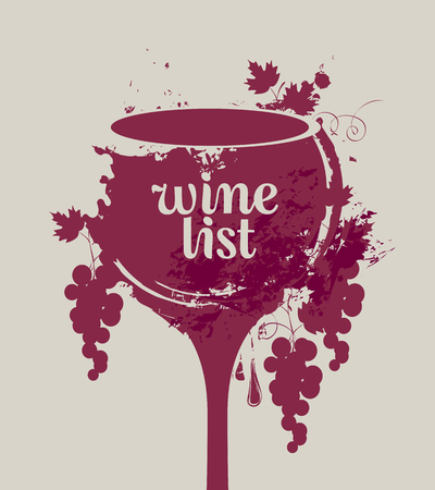 vector banner glass of wine with grapes with spots and splashes of Wine list Vectores