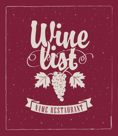 wine list: wine list with a bunch of grapes Illustration