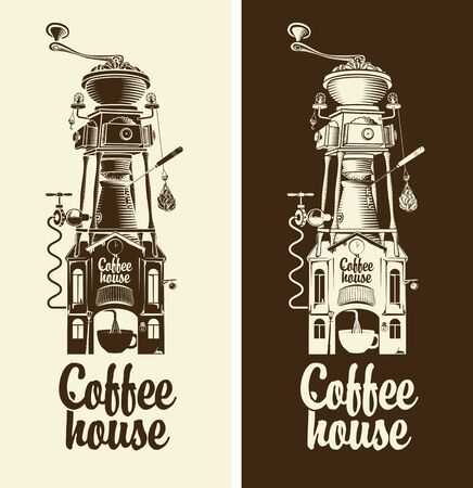 coffee house: Sign Retro coffee house and grinder with roof