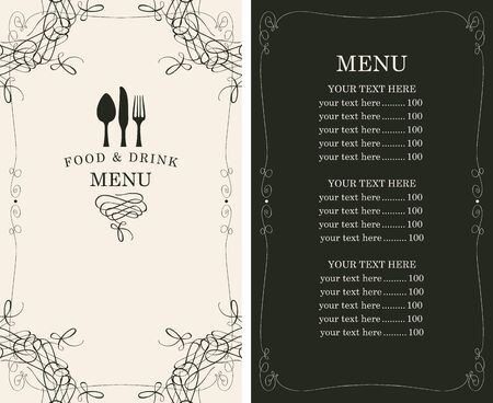 knife fork: menu for the restaurant in retro style with cutlery