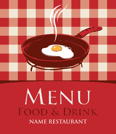 fried eggs: menu with a frying pan and fried eggs on the background of a checkered tablecloth