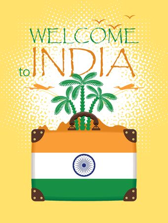 tour operator: Travel banner with palm trees and a suitcase flag of India