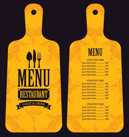 cuchillo de cocina: menú para el restaurante en forma de tabla para cortar