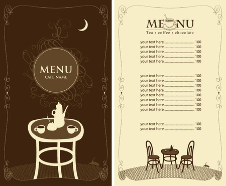 animal silhouette: menu for the night cafe with moon and cat Illustration