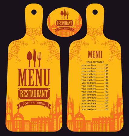 curlicues: menu for the restaurant in the form of cutting board with a picture of the old town Illustration