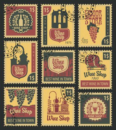 postal: set of postal stamps on theme of wine and liquor Illustration