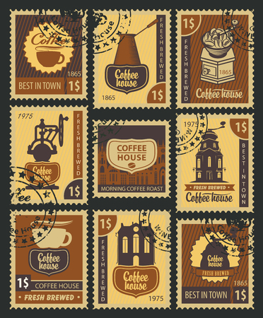 postage stamp: set of Postage Stamps on the theme of coffee Illustration