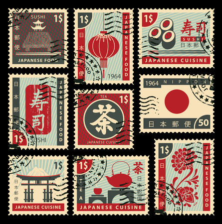 set of postage stamps on the theme of Japanese cuisine. Hieroglyph Japan Post, Sushi, Tea