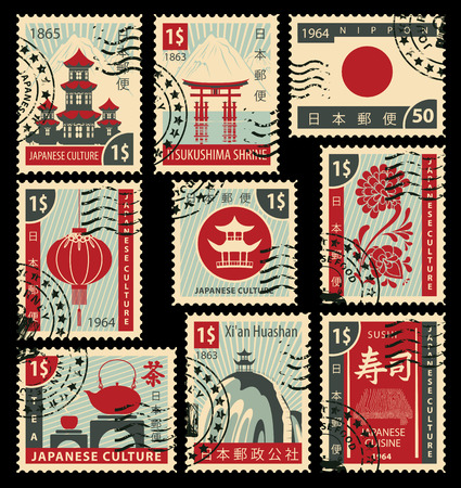 sello: conjunto de sellos sobre el tema de la cultura japonesa. Jeroglífico Japan Post, Sushi, té Vectores
