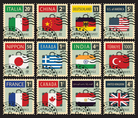stamp design: set of stamps with a travel suitcase with flags of different countries