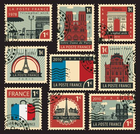 paris france: set of stamps on the theme of France and with the image of the architectural sights of Paris