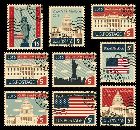 conjunto de sellos con la imagen de los Estados Unidos de América monumentos arquitectónicos Ilustración de vector