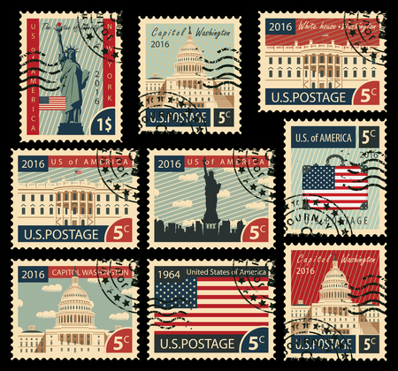 casale: serie di francobolli con l'immagine degli Stati Uniti dei monumenti architettonici americani Vettoriali