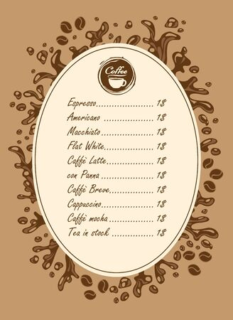 textured paper: menu list for hot drinks with splashes of coffee