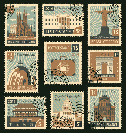 post office building: A set of stamps with landmarks from different countries