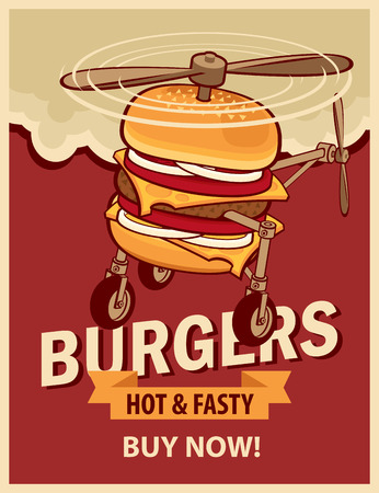 propeller: burger with wheels and a propeller like a helicopter