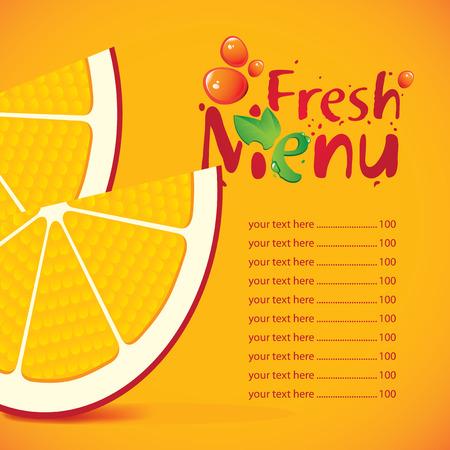 multivitamin: menu and price for fresh juice with orange slices Illustration