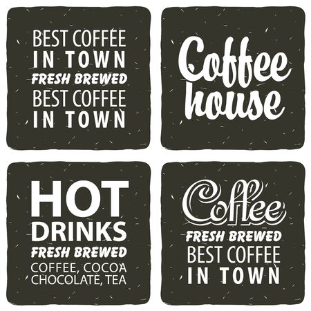 hot drinks: set for a cafe with hot drinks with text