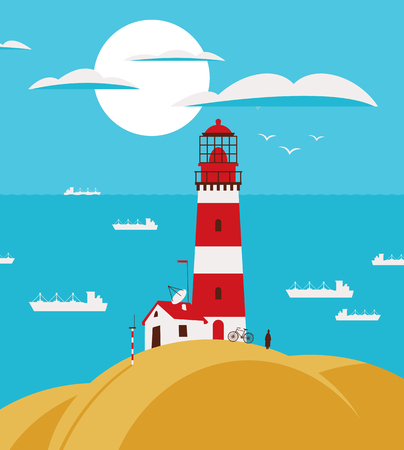 seascape: seascape with lighthouse on the hill and ships