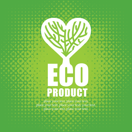 plant to drink: banner for organic food with a tree and heart symbol Illustration