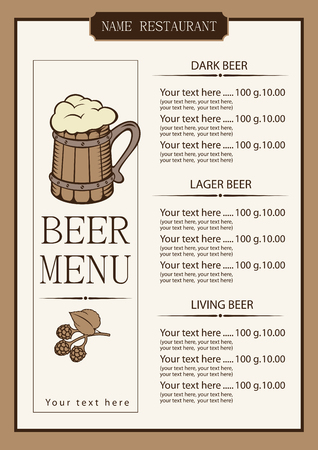 price list: menu for a pub with a price list and a wooden glass beer