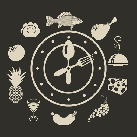 wholesome: banner with a clock and different dishes menu