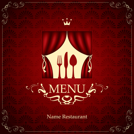 lunch room: banner menu with the cutlery on the theater stage