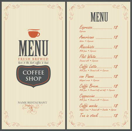 menu for the cafe with a cup of coffee Illustration