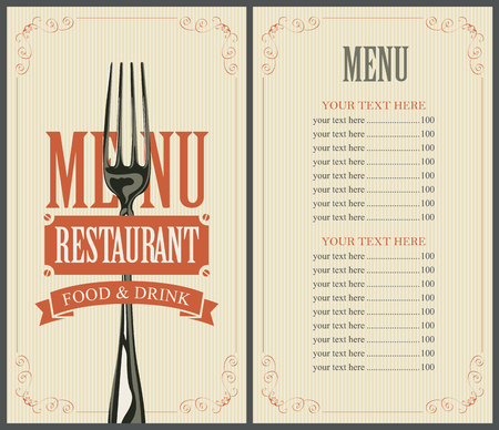 art logo: menu with fork for the restaurant in retro style Illustration