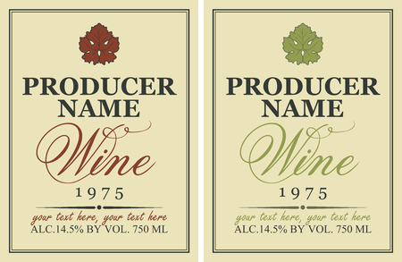 grape leaf: set of wine labels with a picture of grape leaf