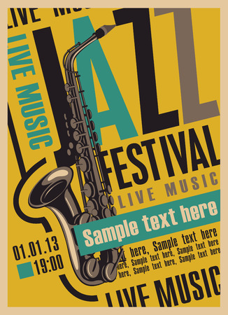 brass band: poster for the jazz festival with a saxophone